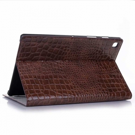 "For Samsung Galaxy Tab S5e 10.5"" SM-T720/T725 Crocodile Texture Flip Stand Leather Case - Brown"