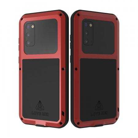 For Samsung Galaxy S20 5G 6.2 inch - Aluminum Gorilla Glass Shockproof Metal Cover Case Red