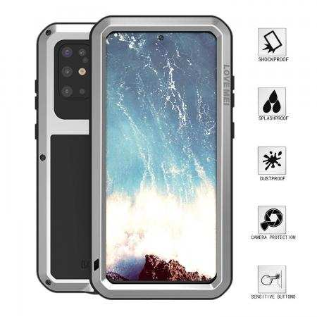 For Samsung Galaxy S20 Plus - Aluminum Metal Gorilla Glass Waterproof Shockproof Case Cover Silver