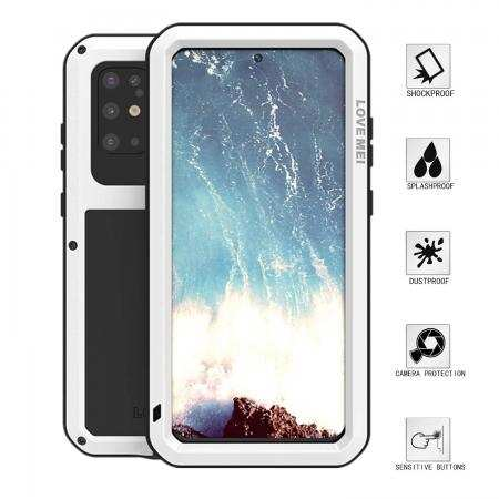 For Samsung Galaxy S20 Plus - Aluminum Metal Gorilla Glass Waterproof Shockproof Case Cover White