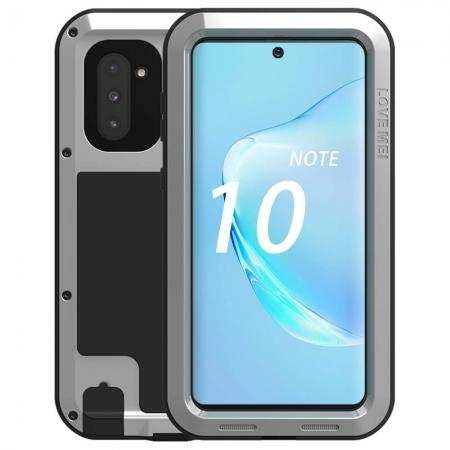 Case For Samsung Galaxy Note 10 - Shockproof Silicone Aluminum Metal Armor Cover Silver