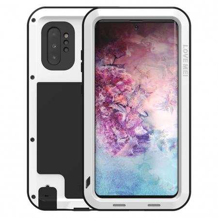 For Samsung Galaxy Note 10 Plus - Shockproof Dustproof Aluminum Metal Case White