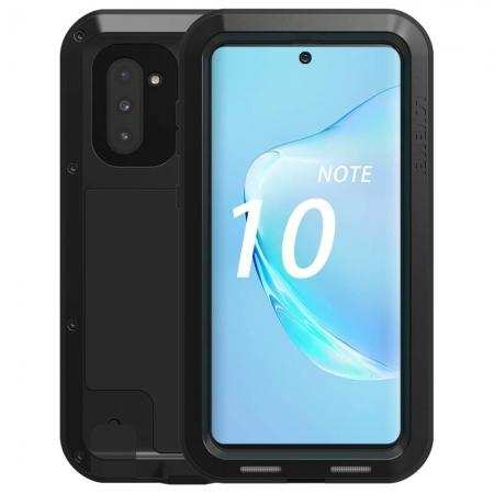 Phone Case For Samsung Galaxy Note 10 - Shockproof Silicone Aluminum Metal Armor Cover Black