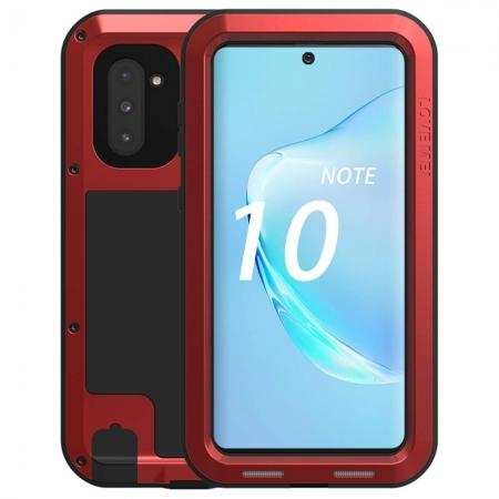 Phone Case For Samsung Galaxy Note 10 - Shockproof Silicone Aluminum Metal Armor Cover Red