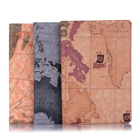 For Samsung Galaxy Tab A7 Case 10.4 2020 Map PU Leather Wallet Tablet Cover