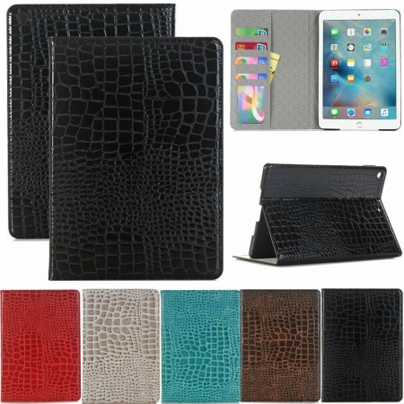For iPad 7th 8th Gen 10.2 inch / iPad Air 4th 10.9 inch Crocodile Leather Magnetic Smart Stand Case