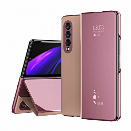 For Samsung Galaxy Z Fold 3 5G Electroplating Mirror Flip Leather Case Cover