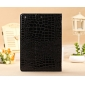 leather ipad air case uk,New Arrival Crocodile PU Leather Flip Folio Smart Cover Stand Case for iPad Air - Black