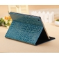 best leather ipad air cases,New Arrival Crocodile PU Leather Flip Folio Smart Cover Stand Case for iPad Air - Blue