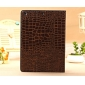 best ipad air case covers leather,New Arrival Crocodile PU Leather Flip Folio Smart Cover Stand Case for iPad Air - Brown