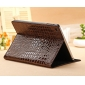 leather case for ipad air,New Arrival Crocodile PU Leather Flip Folio Smart Cover Stand Case for iPad Air - Brown