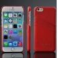 Luxury Genuine Leather Phone Case With Credit Card Holder for iPhone 6 Plus/6S Plus 5.5 Inch - Red