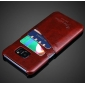 Hard Back Cover Case With Card Slot/Credit Card Back Cover Case For Samsung Galaxy S7 Edge - Dark Brown