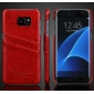 Hard Back Cover Case With Card Slot/Credit Card Back Cover Case For Samsung Galaxy S7 Edge - Red