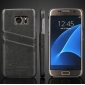 Oil Wax Credit Card Slot Holder Leather Back Case Cover For Samsung Galaxy S7 G930 - Dark Grey