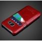 Oil Wax Credit Card Slot Holder Leather Back Case Cover For Samsung Galaxy S7 G930 - Red