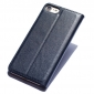 Double View Window Side Flip Stand PC+Genuine Leather Case for iPhone 7 - Dark Blue