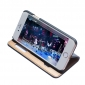 Double View Window Side Flip Stand PC+Genuine Leather Case for iPhone 7 Plus - Dark Blue