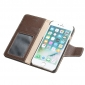 Genuine Luxury Cowhide Leather Flip Case Cover for iPhone 7 - Coffee