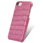 Crocodile Real Leather Back Cover Protective Case for iPhone 7 - Hot Pink