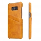 Galaxy S8 Case Back Cover Oil Wax Pattern PU Leather Case with 2 Credit Card Slot for Samsung Galaxy S8 - Orange
