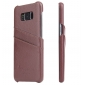 Litchi Cowhide Genuine Leather Case with Double Credit card slots for Samsung Galaxy S8+ Plus - Brown
