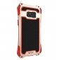 Premium Carbon Fiber Aluminum Protective Metal Cover Shockproof Bumper Case For Samsung Galaxy S8+ Plus - Red&Gold