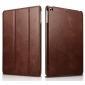 Icarer Tri-fold Magnetic Genuine Leather Case Cover For Apple New iPad 9.7 (2017) - Brown