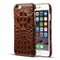 Crocodile Head Real Cowhide Leather Back Case Cover for iPhone 7 4.7 inch - Brown