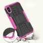 Hybrid PC + TPU Stand Back Cover Case For iPhone X - Hot Pink