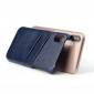 Fashion Oil-wax Leather Back Cover Case with Card Pocket for iPhone X - Dark Blue