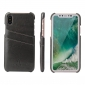 Fashion Oil-wax Leather Back Cover Case with Card Pocket for iPhone X - Dark Grey