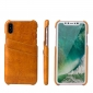 Fashion Oil-wax Leather Back Cover Case with Card Pocket for iPhone X - Orange