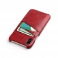 Fashion Oil-wax Leather Back Cover Case with Card Pocket for iPhone X - Red