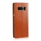 For Samsung Galaxy Note 8 Genuine Leather Flip Wallet Phone Case Cover - Brown
