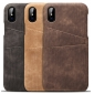 Leather Phone Case with Credit Card Slot Back Cover Wallet For iPhone X - Brown