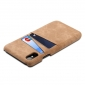 Leather Phone Case with Credit Card Slot Back Cover Wallet For iPhone X - Coffee