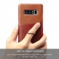 Genuine Leather Ring Finger Holder Stand Case Cover For Samsung Galaxy Note 8 - Brown