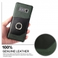 Genuine Leather Ring Finger Holder Stand Case Cover For Samsung Galaxy Note 8 - Green