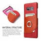 Genuine Leather Ring Finger Holder Stand Case Cover For Samsung Galaxy Note 8 - Red
