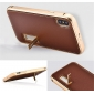 Luxury Aluminum Metal Frame Genuine Leather Back Case For iPhone X - Gold&Brown