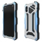 R-JUST Aluminum Metal Tempered Glass Waterproof Shockproof Case for iPhone X - Blue