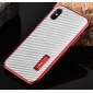 Shockproof Aluminum Metal Armor Bumper Carbon Fiber Back Case Cover For iPhone X - Red&Silver