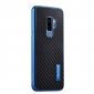 Aluminum Bumper Carbon Fiber Case With Stand For Samsung Galaxy S9 Plus - Blue&Black