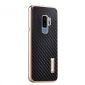 Aluminum Bumper Carbon Fiber Case With Stand For Samsung Galaxy S9 Plus - Gold&Black