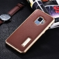 Aluminum Bumper Genuine Leather Back Cover For Samsung Galaxy S9 - Gold&Brown