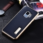 Aluminum Bumper Genuine Leather Back Cover For Samsung Galaxy S9 - Gold&Dark Blue