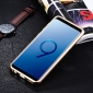 Deluxe Aluminum Metal and Genuine Leather Back Case For Samsung Galaxy S9 Plus - Gold&Dark Blue