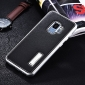 Deluxe Aluminum Metal and Genuine Leather Back Case For Samsung Galaxy S9 Plus - Silver&Black