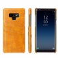 Oil Wax Card Slots Back Leather Case Cover For Samsung Galaxy Note 9 - Yellow